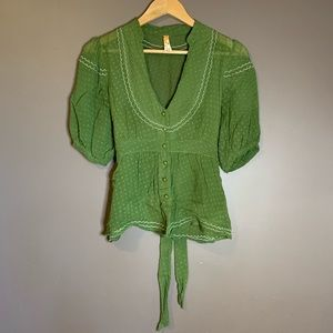 Maeve green short sleeve sheer blouse